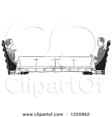 Clipart of a Black and White Retro Housewife Across a Long Table from Her Husband - Royalty Free Vector Illustration by Picsburg