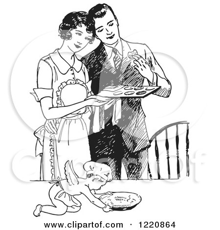 Clipart of a Black and White Retro Cherub Chef and Wife Serving Her Husband Fresh Cookies - Royalty Free Vector Illustration by Picsburg