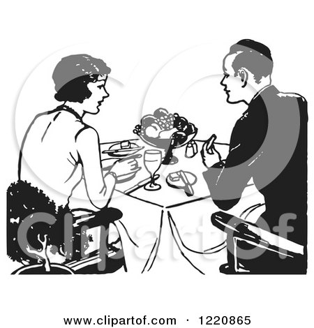 Clipart of a Black and White Retro Couple Eating a Meal - Royalty Free Vector Illustration by Picsburg