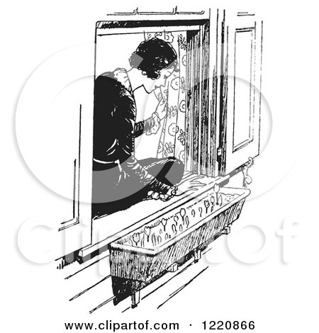 Clipart of a Black and White Retro Woman Sitting in a Window Sill and Looking at Flowers - Royalty Free Vector Illustration by Picsburg