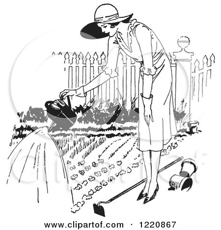 Clipart of a Black and White Retro Woman Watering a Garden - Royalty Free Vector Illustration by Picsburg