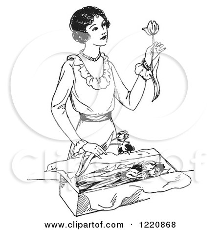 Clipart of a Black and White Retro Woman Opening a Box of Tulips - Royalty Free Vector Illustration by Picsburg