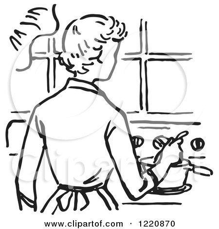 Clipart of a Black and White Retro Mother Cooking on a Stove - Royalty Free Vector Illustration by Picsburg