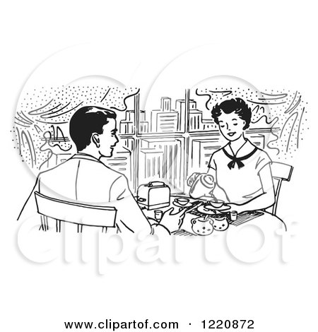 Clipart of a Black and White Happy Retro Couple Dining in a City Restaurant - Royalty Free Vector Illustration by Picsburg
