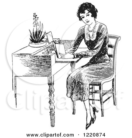 Clipart of a Black and White Retro Woman Reading at a Desk - Royalty Free Vector Illustration by Picsburg