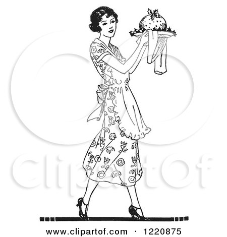Clipart of a Black and White Retro Woman Carrying Plum Pudding on a Plate - Royalty Free Vector Illustration by Picsburg