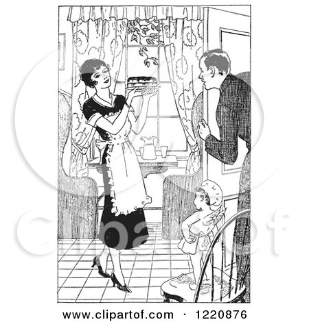 Clipart of a Black and White Retro Cherub Chef Watching a Housewife Serve Her Husband Pie - Royalty Free Vector Illustration by Picsburg