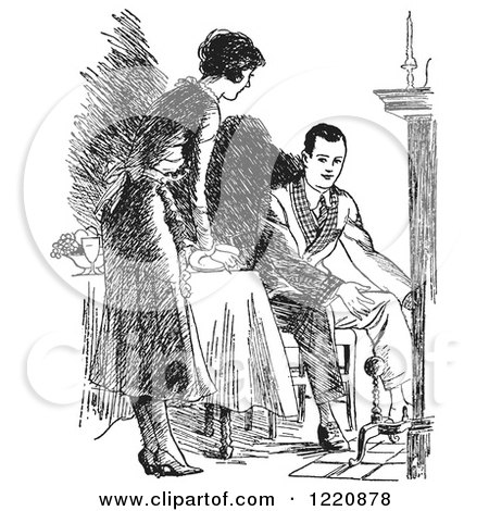 Clipart of a Black and White Retro Housewife Setting a Fireside Table for Her Husband - Royalty Free Vector Illustration by Picsburg