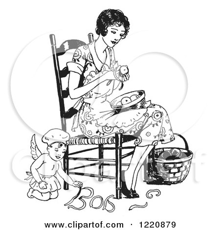 Clipart of a Black and White Retro Chef Angel Helping a Woman Peel Apples - Royalty Free Vector Illustration by Picsburg