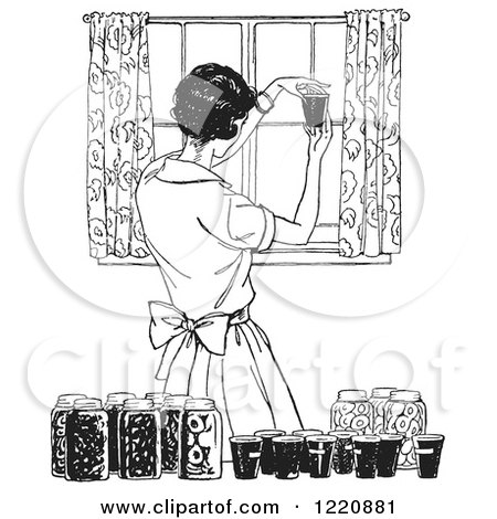Clipart of a Black and White Retro Housewife Canning Foods - Royalty Free Vector Illustration by Picsburg