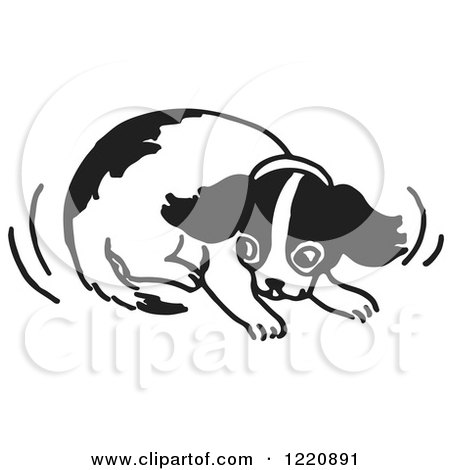 Clipart of a Cowering Puppy in Black and White - Royalty Free Vector Illustration by Picsburg