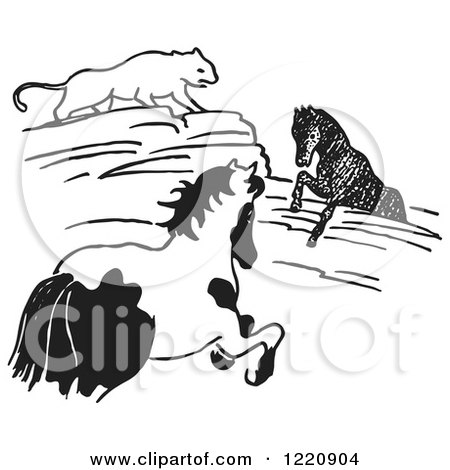 Clipart of a Black and White Cougar Watching a Horse Stuck in Rocks - Royalty Free Vector Illustration by Picsburg