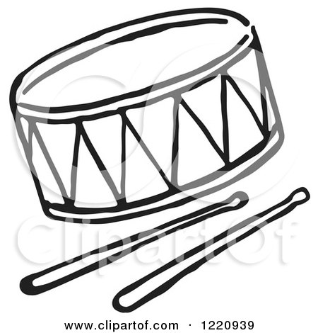 Clipart of a Black and White Drum and Sticks - Royalty Free Vector Illustration by Picsburg