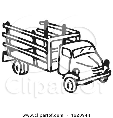 Clipart of a Black and White Truck - Royalty Free Vector Illustration by Picsburg