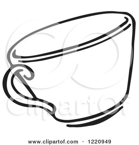Clipart of a Black and White Tea Cup - Royalty Free Vector Illustration by Picsburg