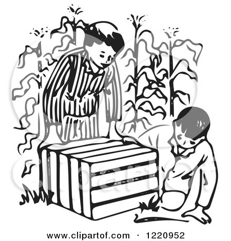 Clipart of Boys Looking in an Animal Trap in a Corn Field - Royalty Free Vector Illustration by Picsburg
