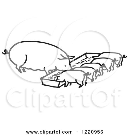 Clipart of a Black and White Sow and Piglets Eating - Royalty Free Vector Illustration by Picsburg