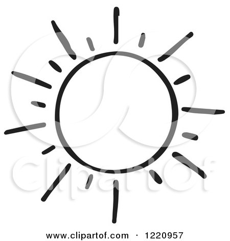 Clipart of a Black and White Shining Sun - Royalty Free Vector Illustration by Picsburg