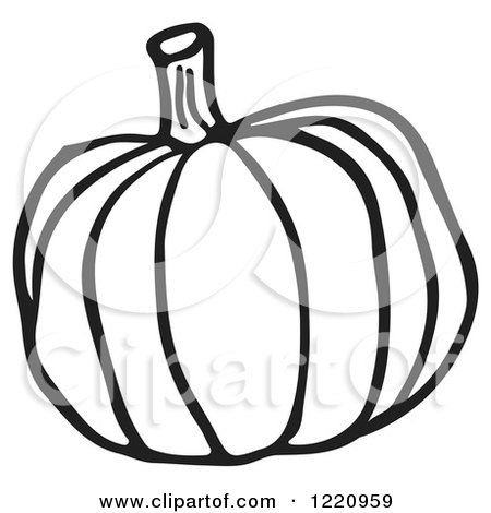 Clipart of a Black and White Pumpkin - Royalty Free Vector Illustration by Picsburg