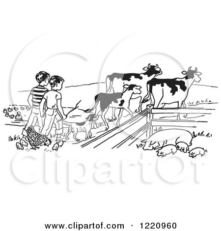 Clipart of Boys Tending to Cattle Chickens and Pigs on a Farm - Royalty Free Vector Illustration by Picsburg