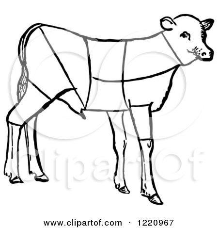 Clipart of a Black and White Lamb Showing Cuts of Veal - Royalty Free Vector Illustration by Picsburg
