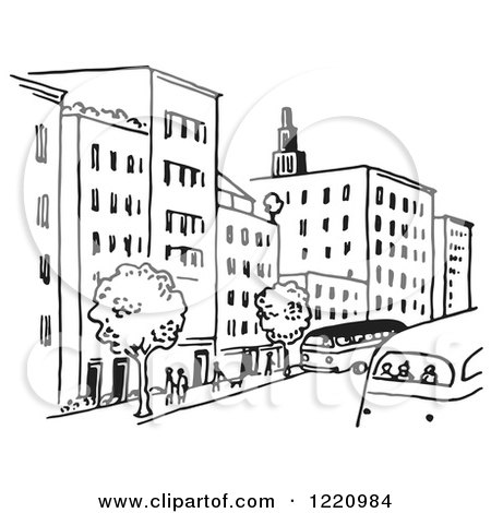Clipart of a Black and White City Street - Royalty Free ...