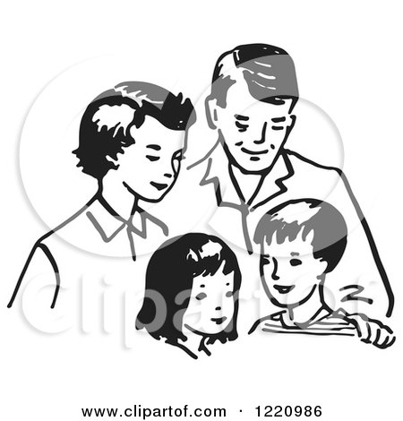 Clipart of a Black and White Happy Retro Family - Royalty Free Vector Illustration by Picsburg