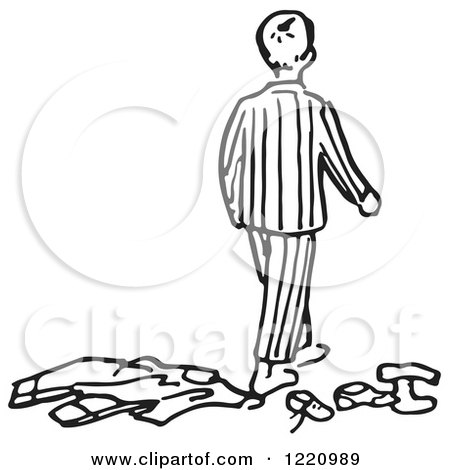 Clipart of a Black and White Boy in Pjs, Walking Away From Clothes - Royalty Free Vector Illustration by Picsburg