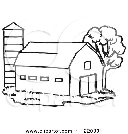 Clipart of a Black and White Barn and Silo - Royalty Free Vector Illustration by Picsburg