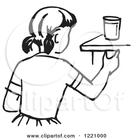 Clipart of a Black and White Girl Reaching for a Cup - Royalty Free Vector Illustration by Picsburg