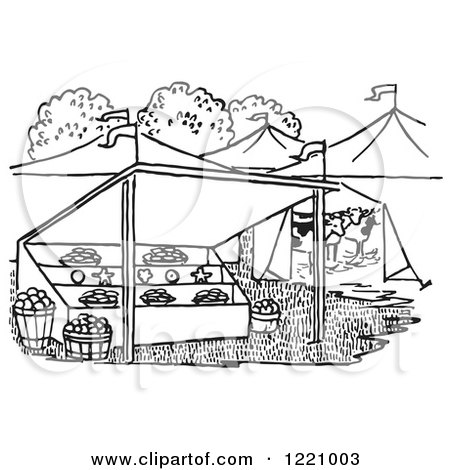 Clipart of a Black and White Farmers Market - Royalty Free ...