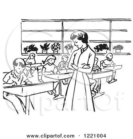 Clipart of a Black and White Retro Teacher Watching Children Write in Class - Royalty Free Vector Illustration by Picsburg