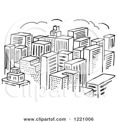 Clipart Of A Black And White City Of Skyscrapers Royalty