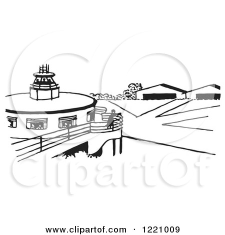 Clipart of a Black and White Airport - Royalty Free Vector Illustration by Picsburg