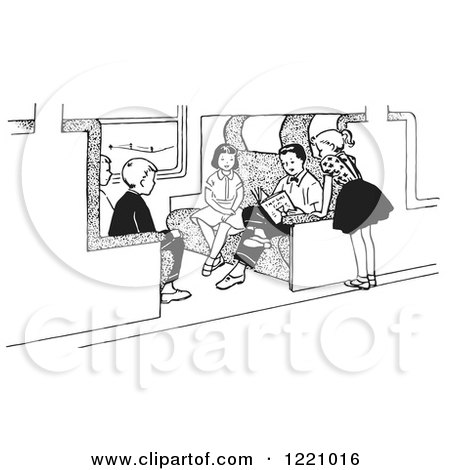 Clipart Of Black And White Children Reading On A Train Royalty Free Vector Illustration