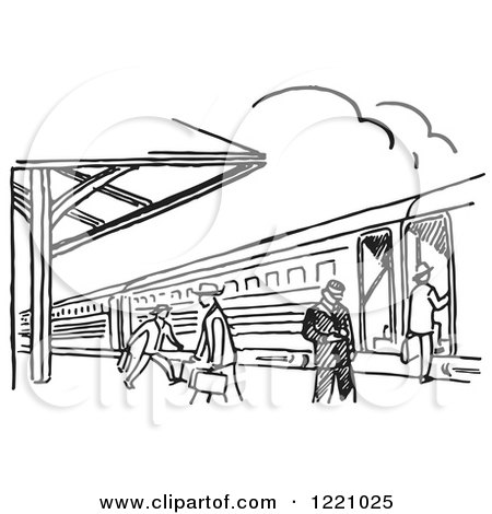 Clipart of a Black and White Train Station - Royalty Free Vector Illustration by Picsburg