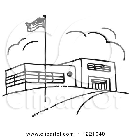 Clipart Of A Black And White Flag And School Building
