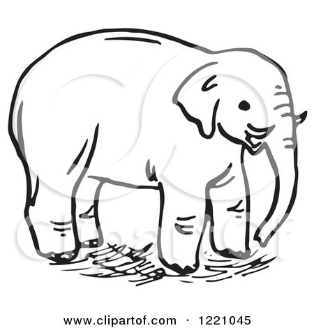Clipart of a Black and White Elephant - Royalty Free Vector Illustration by Picsburg