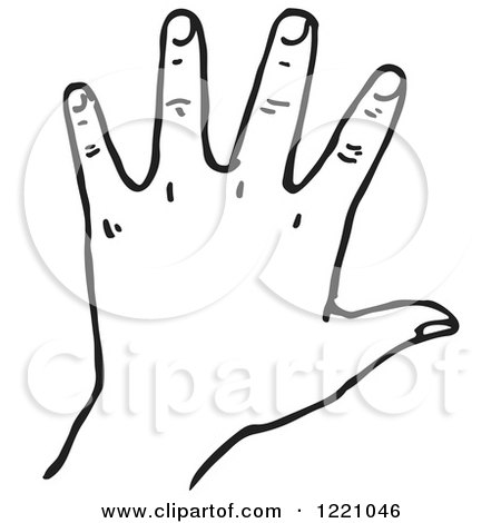 Clipart of a Black and White Hand - Royalty Free Vector Illustration by Picsburg