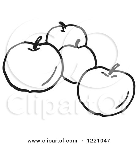 Clipart of Black and White Apples - Royalty Free Vector Illustration by Picsburg
