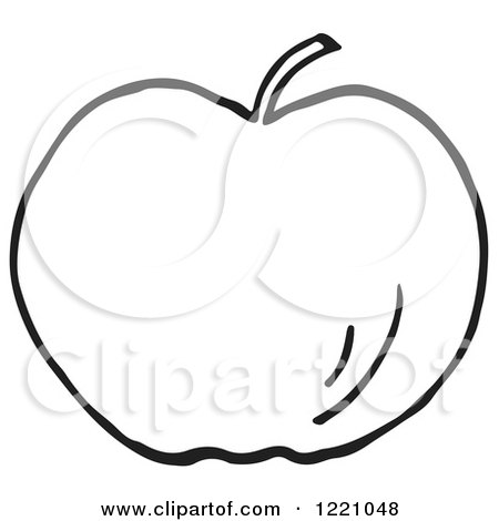 Clipart of a Black and White Apple - Royalty Free Vector Illustration by Picsburg