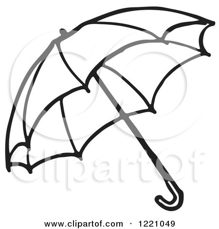 Clipart of a Black and White Umbrella 2 - Royalty Free Vector Illustration by Picsburg