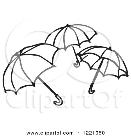 Umbrella Clipart Black And White Clipart of a Bl...