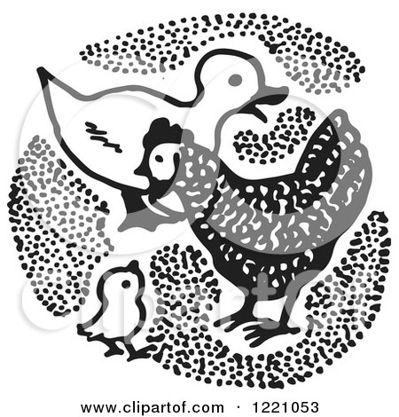 Clipart of a Black and White Duck and Chickens - Royalty Free Vector Illustration by Picsburg