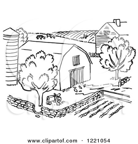 Agriculture Clipart Black And White Clipart of a Bl...