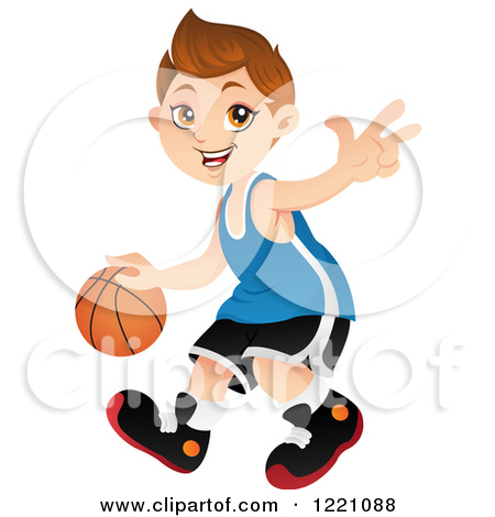 Clipart Of A Caucasian Basketball Player Boy Dribbling Royalty Free Vector Illustration By