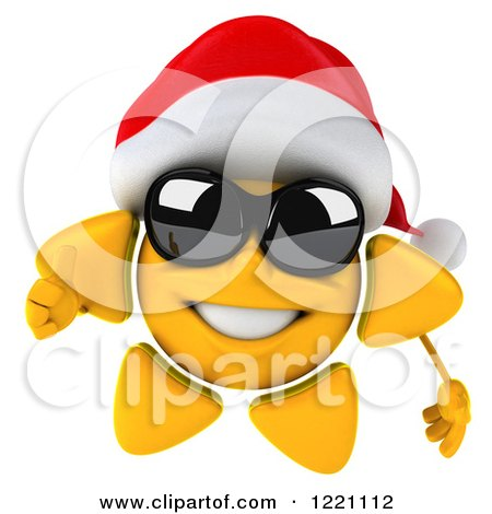 Clipart of a 3d Christmas Sun Mascot Wearing Shades and a Santa Hat and Holding a Thumb up - Royalty Free Illustration by Julos