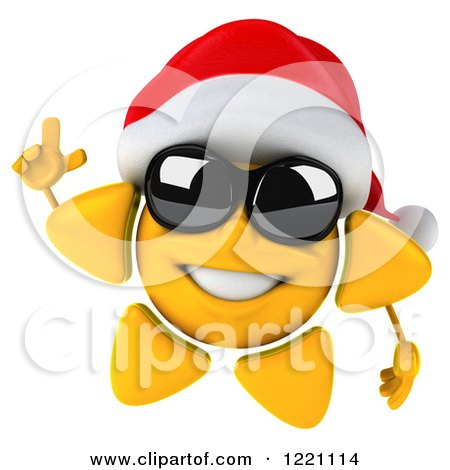 Clipart of a 3d Christmas Sun Mascot Wearing Shades and a Santa Hat and Holding up a Finger - Royalty Free Illustration by Julos