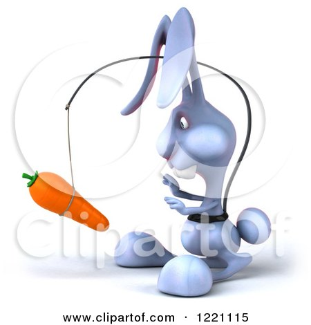 Clipart of a 3d Bunny Rabbit Chasing a Carrot on a Stick - Royalty Free Illustration by Julos