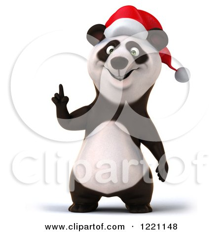 Clipart of a 3d Christmas Panda Pointing up - Royalty Free Illustration by Julos